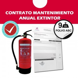 Contrato anual mantenimiento Extintor 9 kg abc
