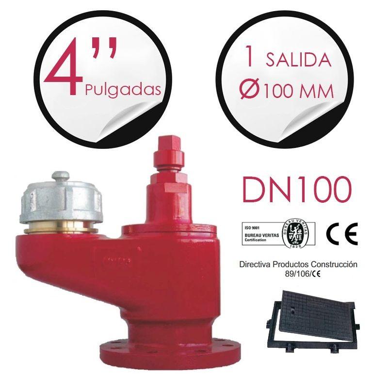 """Hidrante 4"""" + 1 salida 100 mm + cerco y tapa"""